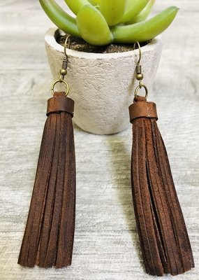 Lucky & Blessed Solid Brown Tassel Dangle Earring