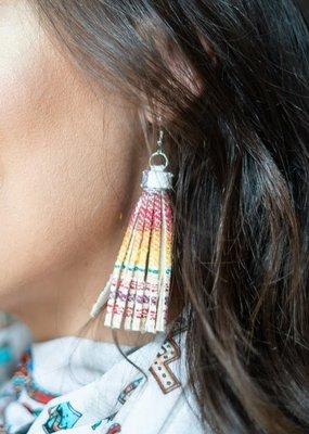 Lucky & Blessed Printed Tassel Dangle Earrings