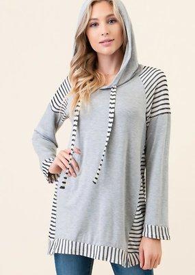 Vision Apparel Gray Stripe Summer Hoodie