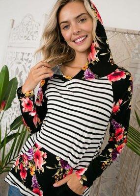 Clothing in America Stripe Floral Mixed Hoodie Black
