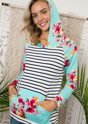 Clothing in America Stripe Floral Mixed Hoodie Aqua