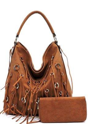 PJEE  Handbags Camel Vegan Leather Tassel Purse