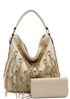 PJEE  Handbags Cream Vegan Leather Tassel Purse