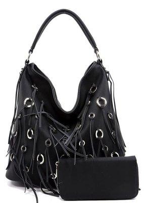 PJEE  Handbags Black Vegan Leather Tassel Purse