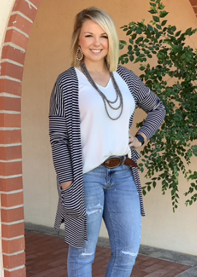 texas true Threads Game Day Black Striped Cardigan