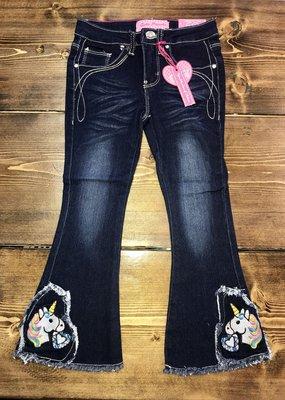 Cutie Pa Tootie Girls Dark Wash Unicorn Flare Jean