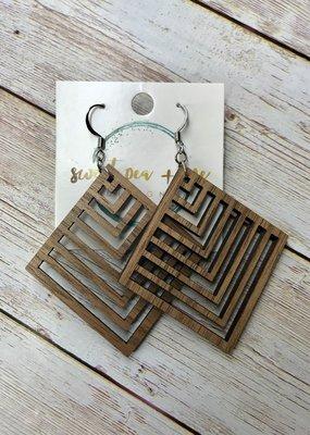 Sweet Pea and Me Designs Herringbone Wood Earrings