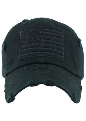 Too Too Hat Black Distressed American Flag Hat