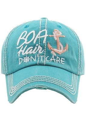 Too Too Hat Boat Hair Don't Care Distressed Hat - Teal