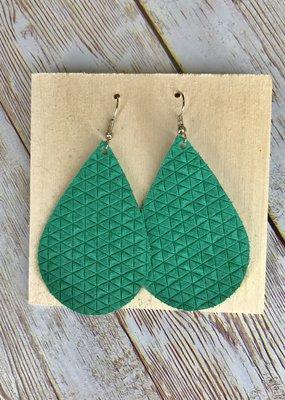 Deer Addie Handmade Green Leather Earrings
