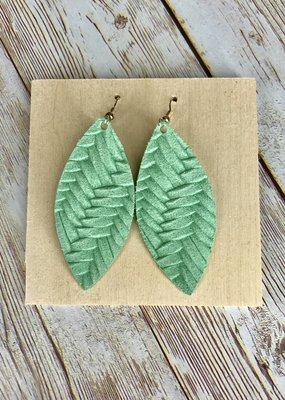 Deer Addie Handmade Mint Leather Earrings