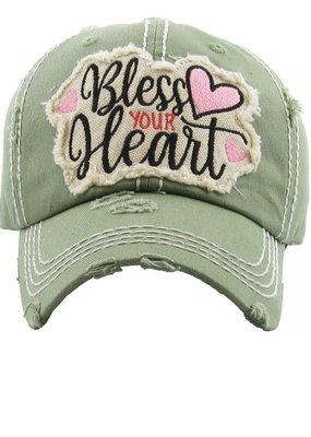 Too Too Hat Bless Your Heart Distressed Hat - Olive