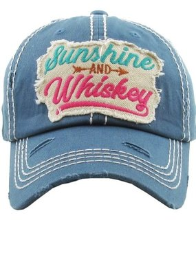 Too Too Hat Sunshine and Whiskey Distressed Hat - Blue