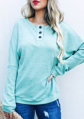 And the Why Mint Waffle Knit Henley