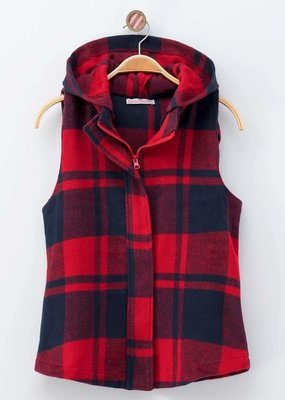 trend notes Red Navy Check Hooded Vest