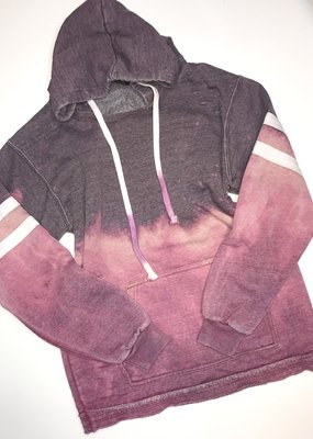 Artifacts Purple Distressed College Stripe Hoodie