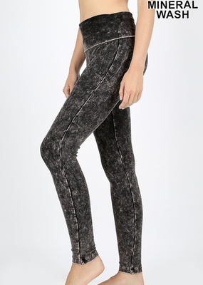 Zenana Mineral Wash High Waist Leggings - Charcoal
