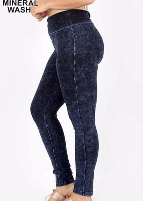 Zenana Mineral Wash High Waist Leggings - Sapphire