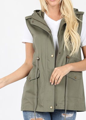 Zenana Olive Hooded Drawstring Vest