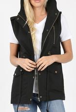 Zenana Black Hooded Drawstring Vest