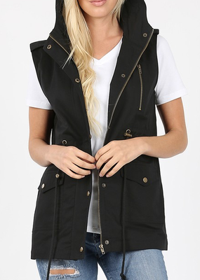 Zenana Black Hooded Drawstring Vest