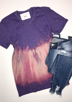 Artifacts Heathered Purple Bleached V-Neck Tee