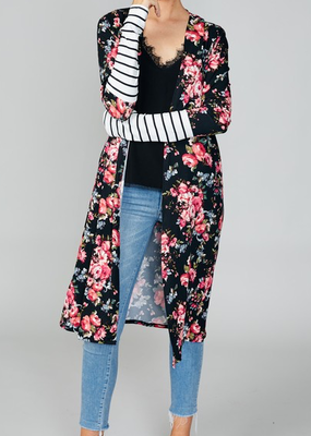 Reborn J Black Floral Duster with Striped Sleeves