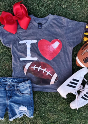 Prickly Pear Youth I Love Football Tee