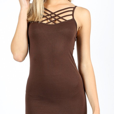 Zenana Outfitters Brown Criss Cross Cami