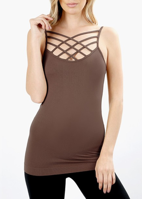 Zenana Mocha Criss Cross Cami