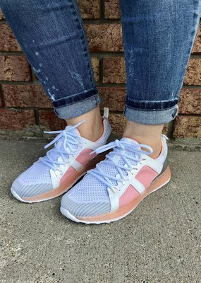 LA Shoe King Color Block Sporty Sneaker - Blush & White