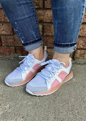 LA Shoe King Color Block Sporty Sneaker - Blush & White