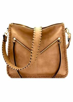 Catherine K Taupe Bag with Braided Strap