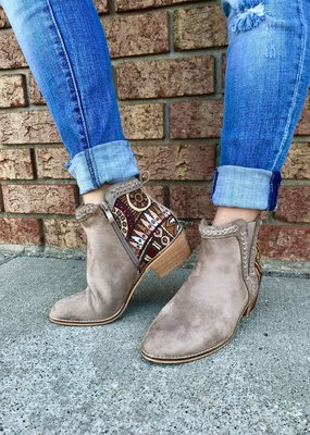 Ccocci Taupe Boot with Embroidered Heel