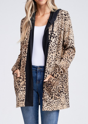 White Birch Leopard Black Hooded Cardigan
