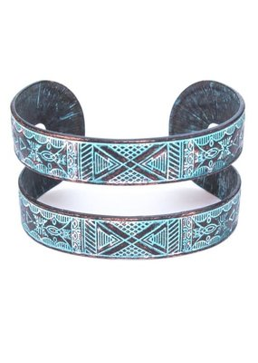 Suzie Q USA Metal Engraved Cuff Bracelet - Patina