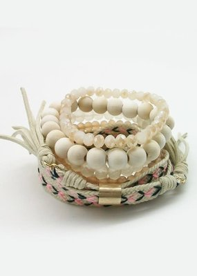 Suzie Q USA Natural Pink Wood Bracelet Set