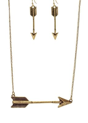 Suzie Q USA Arrow Necklace Earring Set - Gold