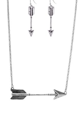 Suzie Q USA Arrow Necklace Earring Set - Silver