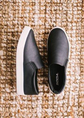 Soda Shoe Co Matte Black Slip On Shoes