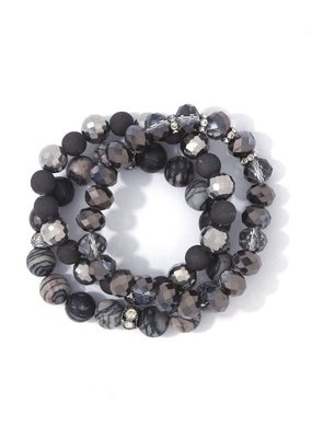Bag Boutique Beaded Bracelet Set - Charcoal