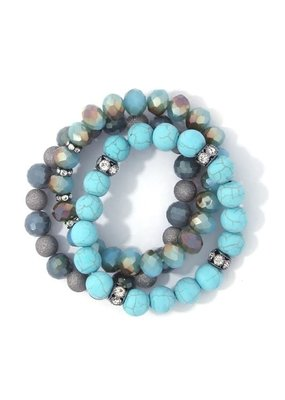 Bay Boutique Beaded Bracelet Set - Turquoise