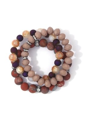 Bay Boutique Beaded Bracelet Set - Rust