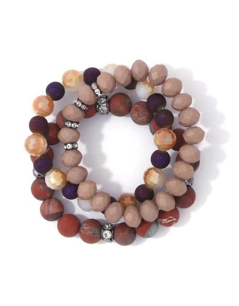 Bay Boutique Beaded Bracelet Set - Rust