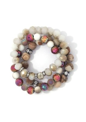Bay Boutique Beaded Bracelet Set - Natural