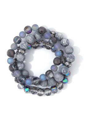 Bay Boutique Beaded Bracelet Set - Smoke
