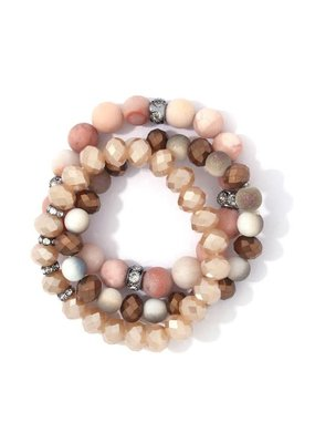 Bay Boutique Beaded Bracelet Set - Blush