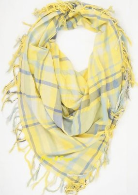 Olive & Pique Yellow Navy Plaid Scarf