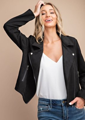 EESOME Faux Suede Moto Jacket