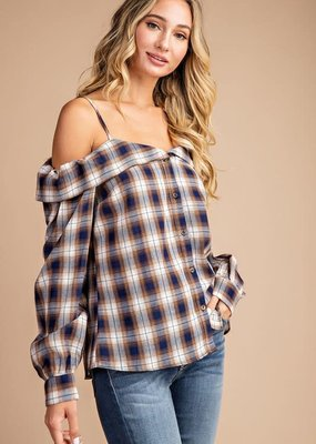 EESOME Navy Oatmeal Cold Shoulder Plaid Top